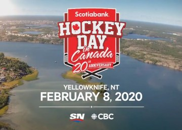A Rogers Sportsnet graphic proclaims Yellowknife as the host city for Hockey Day in Canada 2020