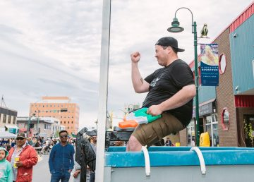 Jesse Wheeler in the Cabin Radio dunk tank during Festival on Franklin 2019