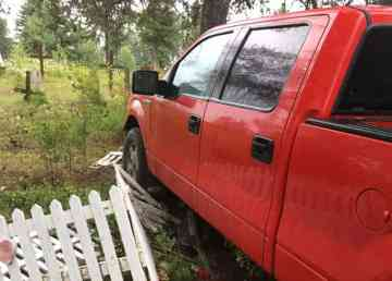 A submitted photo of the red truck that drove through the graveyard in Fort Smith. Dave Beamish/Photo