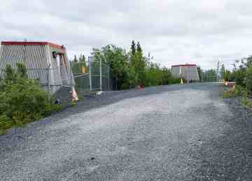Disused concrete buildings at the Iridium site in Yellowknife's Kam Lake