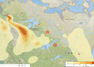 Firesmoke.ca shows where smoke from the Tsiigehtchic is expected to be at 12 pm on Tuesday, July 30.