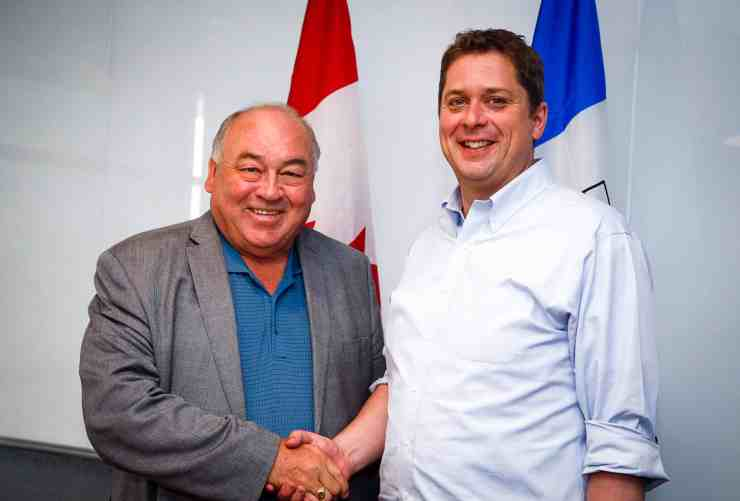 NWT Premier Bob McLeod, left, appears alongside federal Conservative leader Andrew Scheer in a photo posted online by Scheer in July 2019