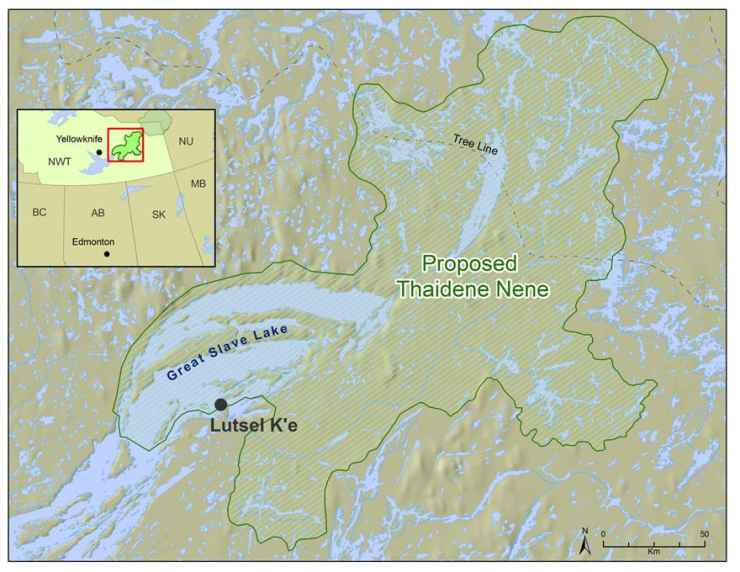 A map of the proposed Thaidene Nene park published by the Łutselk'e Dene First Nation
