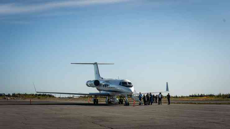 Nasa's Gulfstream jet rests on the tarmac at Yellowknife Airport