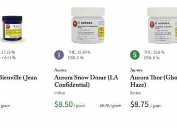 A screenshot of some of the products on Shoppers' medical cannabis website, now open to customers in the NWT