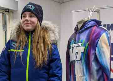 Figure skating Emily Hazenberg models Team NT's Whitehorse 2020 uniform