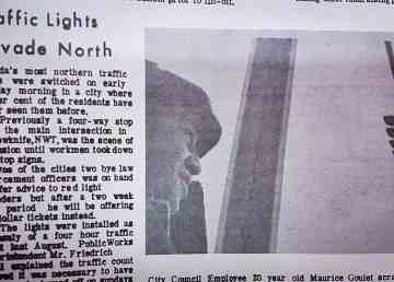 A News of the North clipping shows the installation of the first Yellowknife traffic lights