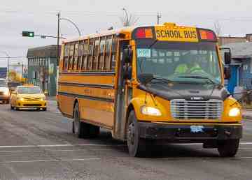 A file photo school bus in Yellowknife