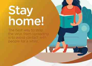 A Government of the Northwest Territories print ad warns residents to stay at home whenever possible during the coronavirus pandemic