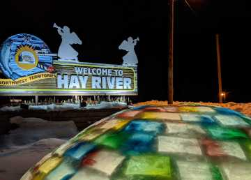 A file photo of the Town of Hay River's welcome sign in February 2020