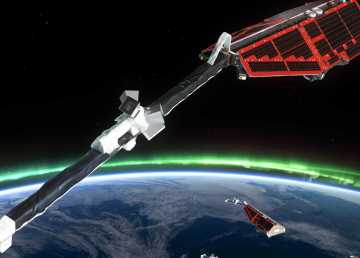 A visualization provided by Astronomy North of satellites assisting in aurora research projects