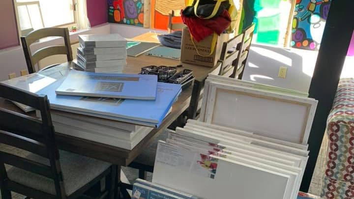 Some of the art supplies Yellowknife's Rainbow Coalition is giving away. Photo: Rainbow Coalition of Yellowknife Facebook page
