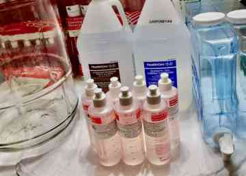 Supplies for the creation of hand sanitizer as seen in a photo provided by 62 Degrees North
