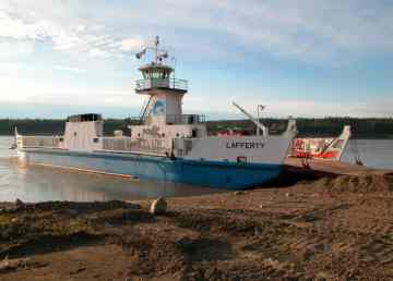The MV Lafferty at the Fort Simposn river crossing