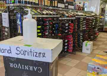 A bottle of hand sanitizer sits inside Yellowknife's downtown liquor store on April 16, 2020