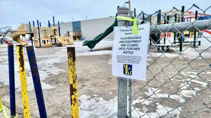 A playground at NJ Macpherson School carries a warning sign from the YK1 school district in April 2020