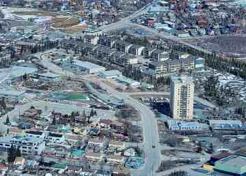 Yellowknife's Summit housing development, top centre, is seen in May 2020