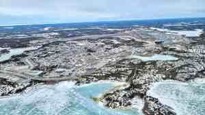 Yellowknife's Old Airport Road and airfield from the air