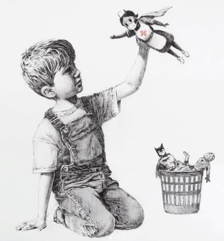 A Banksy image, posted by the artist to Instagram, shows a boy with a nurse superhero doll