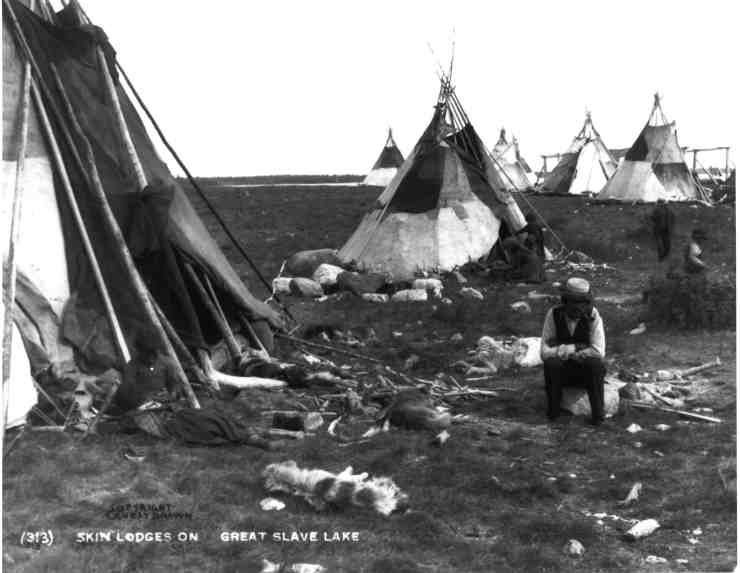 """""""Tipis made of caribou hide at Great Slave Lake"""" from the Provincial Archives of Alberta's E Brown Collection"""