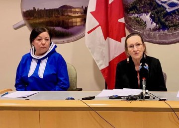 Diane Thom and Caroline Cochrane appear at a media briefing on March 18, 2020.