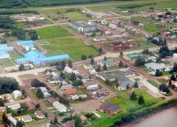 Fort Simpson from the air in July 2020