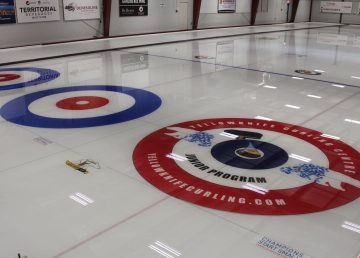 A photo of the Yellowknife Curling Club ice in October 2019