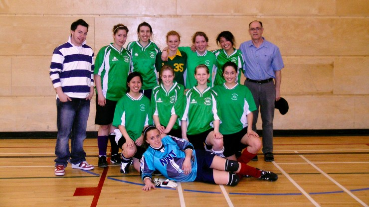 Gerard Landry with a school soccer team in 2008