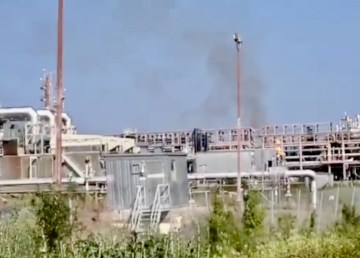 A still from a video showing a fire at Norman Wells' Imperial Oil facility on July 31, 2020