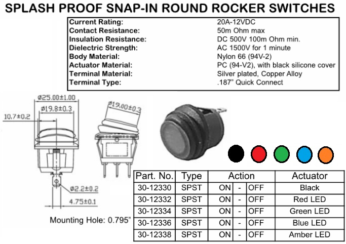 spst sealed red led lighted round rocker switch