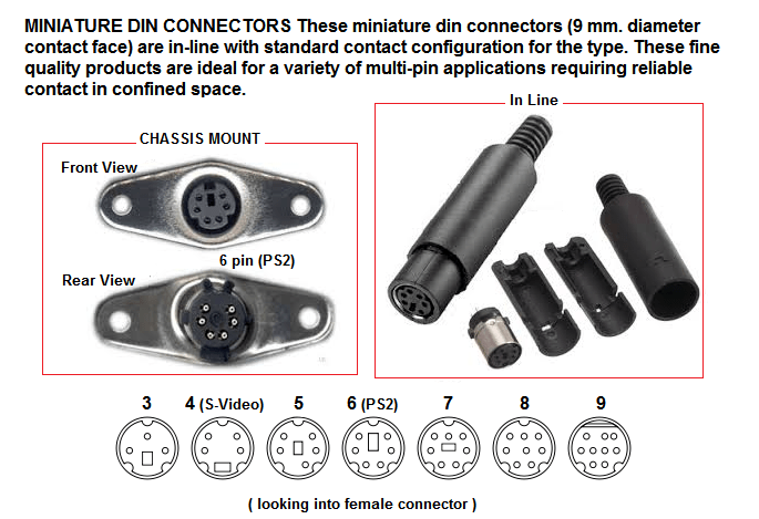 4 pin mini din power connections face pressure points diagram connectors type multi round 26500 26