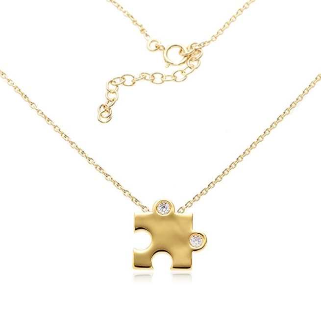Puzzle Pendant 16″ extendable to 18″ Sterling Silver Rhodium Plated in Yellow Gold set with Round Brilliant Diamond Simulant 2.50ct x 2