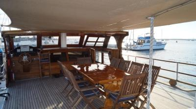 Exterior Dining on 90ft Galeon Luxury Yacht Rentals in La Paz