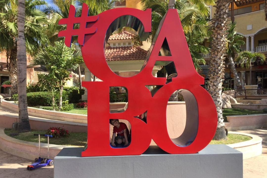 #cabo cabo san lucas sign on the cabo Marina where your los cabos city tours will visit.