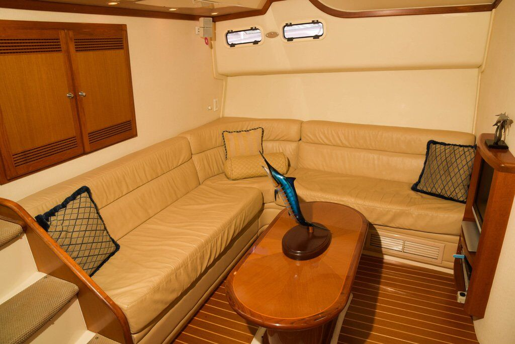 comfy air conditioned salon 45ft cabo sport fishing charter chaos sportfishing cabo san lucas