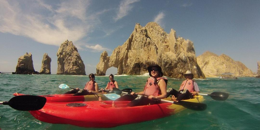 see the arch for the best cabo adventures on this kayak snorkelling tour