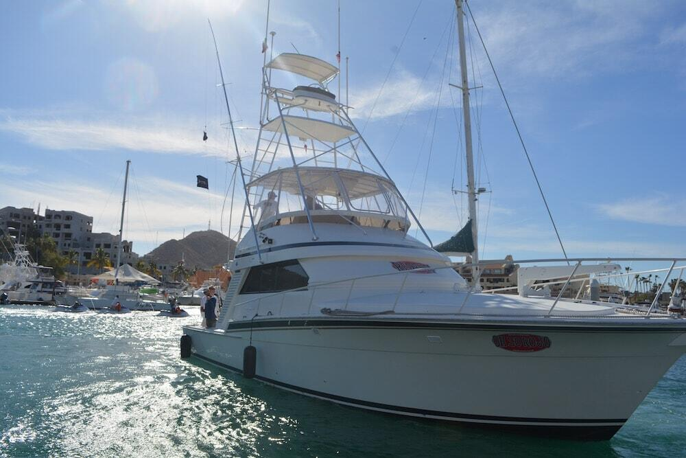 oh so rojo redrum cabo newest 46ft bertram sport fishing boat leaves the Marina for a day of deep sea fishing in cabo luxury sport fishing cabo