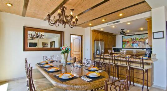 Casa Mega point is one of los cabos most sought after luxury vacation villas for bachelor parties dining area