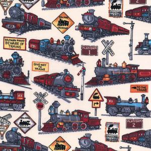 Trains Cotton Poplin Print Fabric