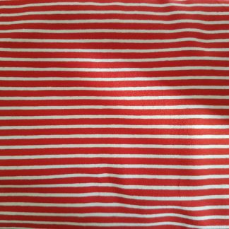 Red White Stripe Cotton Lycra Jersey Knit Fabric