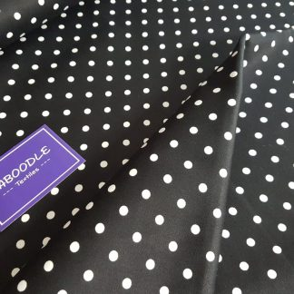 Black and White Polka Dot Jardin Stretch Cotton Sateen Fabric