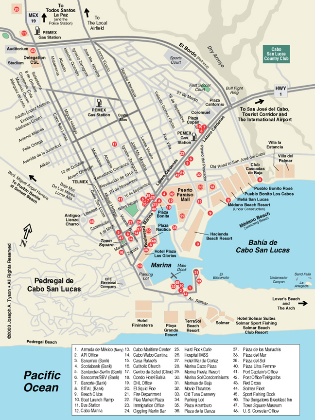Maps Of Cabo San Lucas Hotels : lucas, hotels, Lucas, Street, Cabos,, Baja,, Mexico