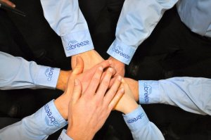 participation happy team hands