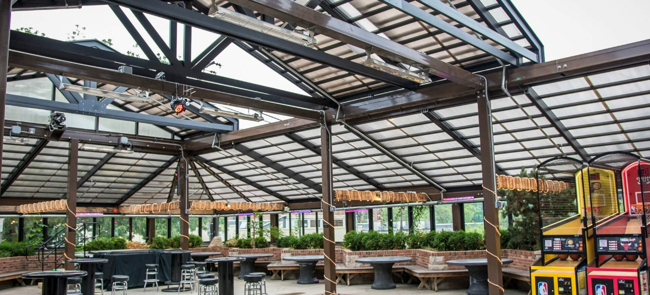 Kilroys opening walls and opening roof structure for a year round patio