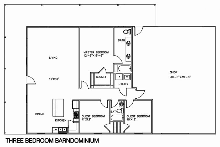 Barndominium Floor Plans 3 Bed 1 Bath