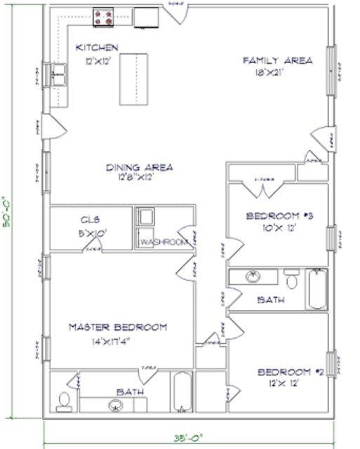Barndominium Floor Plans 3 Bed 2 Bath