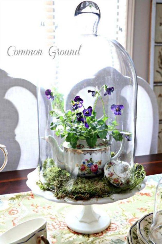 French Country Decor Ideas - Sweet Teapot Planter Cloche Centerpiece - Cabritonyc.com