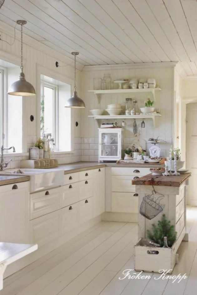 French Country Decor Ideas - French Country Kitchen with Butcherblock Island - Cabritonyc.com