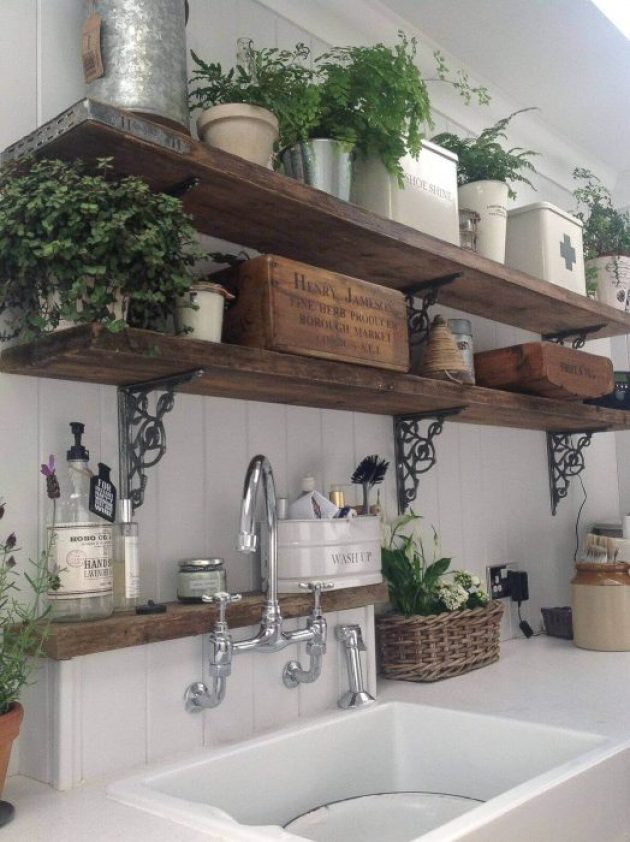 French Country Decor Ideas - Rustic Wooden Kitchen Shelves with Potted Ferns - Cabritonyc.com