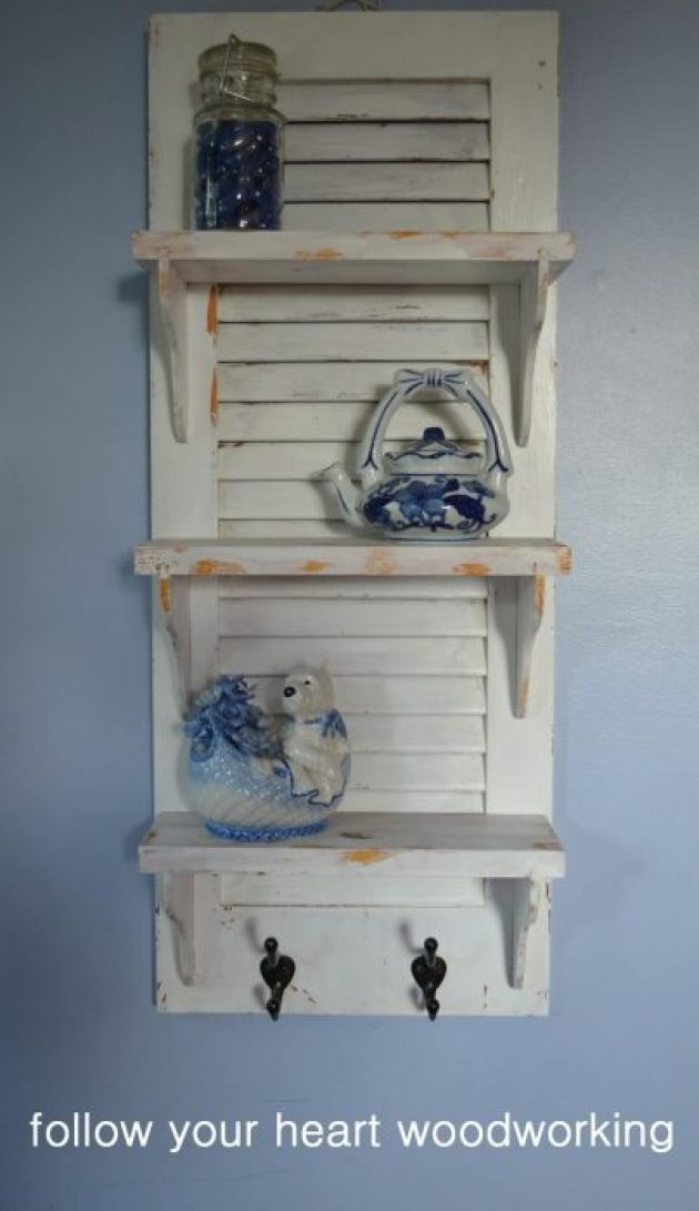 French Country Decor Ideas - Recycled Wooden Shutter Display Shelf - Cabritonyc.com
